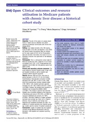 Vol 4: Clinical outcomes and resource utilisation in Medicare patients with chronic liver disease: a historical cohort study.