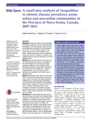 Vol 4: A small-area analysis of inequalities in chronic disease prevalence across urban and non-urban communities in the Province of Nova Scotia, Canada, 2007-2011.