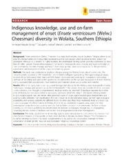 Vol 10: Indigenous knowledge, use and on-farm management of enset Ensete ventricosum Welw. Cheesman diversity in Wolaita, Southern Ethiopia.