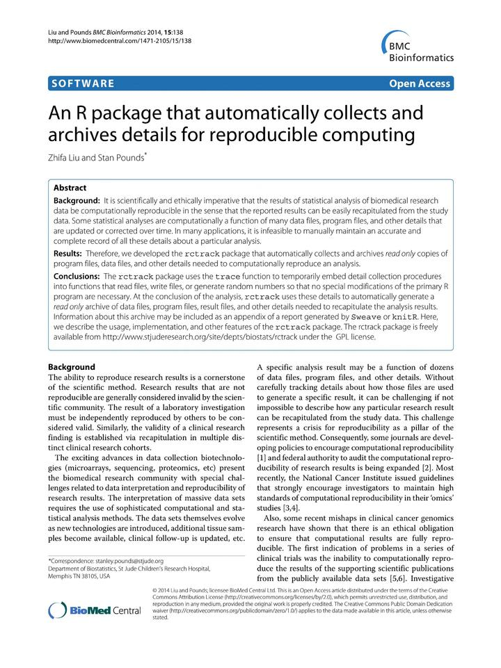 Vol 15: An R package that automatically collects and archives details for reproducible computing.