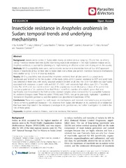 Vol 7: Insecticide resistance in Anopheles arabiensis in Sudan: temporal trends and underlying mechanisms.