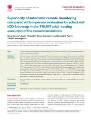 Vol 35: Superiority of automatic remote monitoring compared with in-person evaluation for scheduled ICD follow-up in the TRUST trial - testing execution of the recommendations.