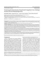 Vol 16: Prioritizing the Determinants of Social-health Inequality in Iran: A Multiple Attribute Decision Making Application.