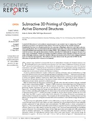 Vol 4: Subtractive 3D Printing of Optically Active Diamond Structures.