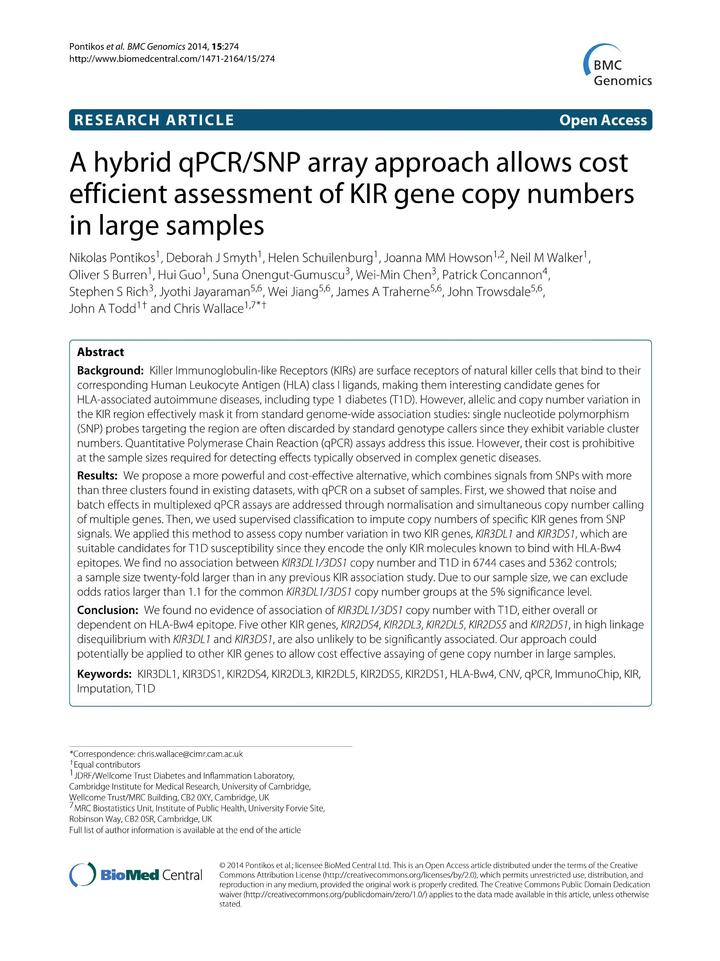 Vol 15: A hybrid qPCR-SNP array approach allows cost efficient assessment of KIR gene copy numbers in large samples.