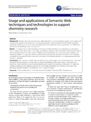 Vol 6: Usage and applications of Semantic Web techniques and technologies to support chemistry research.