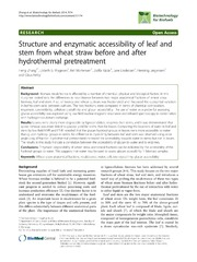 Vol 7: Structure and enzymatic accessibility of leaf and stem from wheat straw before and after hydrothermal pretreatment.