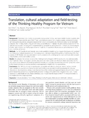 Vol 10: Translation, cultural adaptation and field-testing of the Thinking Healthy Program for Vietnam.