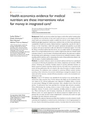 Vol 6: Health economics evidence for medical nutrition: are these interventions value for money in integrated care