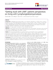 Vol 12: Getting stuck with LAM: patients perspectives on living with Lymphangioleiomyomatosis.