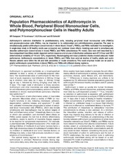 Vol 3: Population Pharmacokinetics of Azithromycin in Whole Blood, Peripheral Blood Mononuclear Cells, and Polymorphonuclear Cells in Healthy Adults.