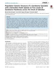 Vol 9: Population Genetic Structure of a Sandstone Specialist and a Generalist Heath Species at Two Levels of Sandstone Patchiness across the Strait of Gibraltar.