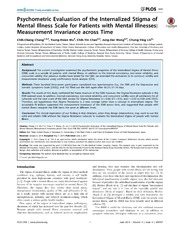 Vol 9: Psychometric Evaluation of the Internalized Stigma of Mental Illness Scale for Patients with Mental Illnesses: Measurement Invariance across Time.