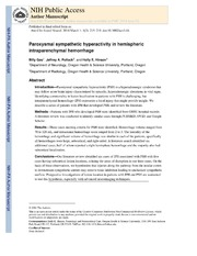 Vol 1: Paroxysmal sympathetic hyperactivity in hemispheric intraparenchymal hemorrhage.