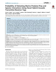 Vol 9: Probability of Detecting Marine Predator-Prey and Species Interactions Using Novel Hybrid Acoustic Transmitter-Receiver Tags.