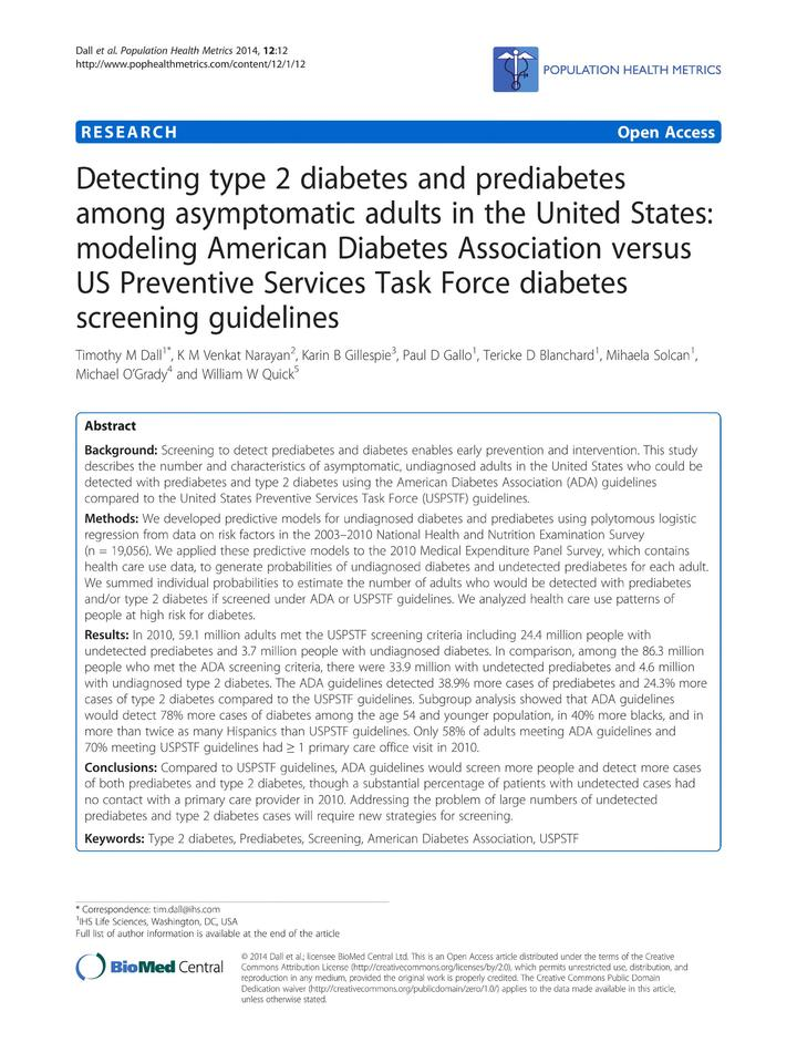 Vol 12: Detecting type 2 diabetes and prediabetes among asymptomatic adults in the United States: modeling American Diabetes Association versus US Preventive Services Task Force diabetes screening guidelines.