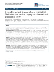 Vol 9: A novel treatment strategy of new onset atrial fibrillation after cardiac surgery: an observational prospective study.