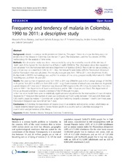 Vol 13: Frequency and tendency of malaria in Colombia, 1990 to 2011: a descriptive study.