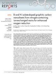 Vol 4: B and N isolate-doped graphitic carbon nanosheets from nitrogen-containing ion-exchanged resins for enhanced oxygen reduction.