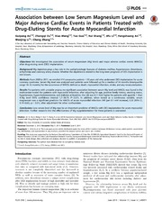 Vol 9: Association between Low Serum Magnesium Level and Major Adverse Cardiac Events in Patients Treated with Drug-Eluting Stents for Acute Myocardial Infarction.