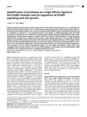 Vol 5: Identification of prolidase as a high affinity ligand of the ErbB2 receptor and its regulation of ErbB2 signaling and cell growth.