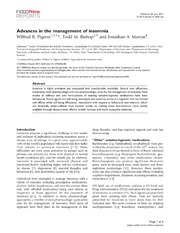 Vol 6: Advances in the management of insomnia.