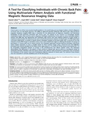 Vol 9: A Tool for Classifying Individuals with Chronic Back Pain: Using Multivariate Pattern Analysis with Functional Magnetic Resonance Imaging Data.