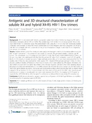 Vol 11: Antigenic and 3D structural characterization of soluble X4 and hybrid X4-R5 HIV-1 Env trimers.