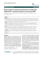 Vol 14: Brain regions relative proximity as marker for Alzheimers disease based on structural MRI.