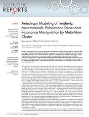 Vol 4: Anisotropy Modeling of Terahertz Metamaterials: Polarization Dependent Resonance Manipulation by Meta-Atom Cluster.