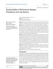 Vol 10: Social phobia in Parkinsons disease: Prevalence and risk factors.
