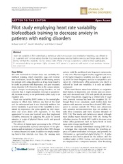 Vol 2: Pilot study employing heart rate variability biofeedback training to decrease anxiety in patients with eating disorders.