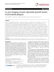 Vol 2: In vivo imaging reveals sigmoidal growth kinetic of -amyloid plaques.