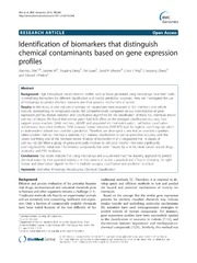 Vol 15: Identification of biomarkers that distinguish chemical contaminants based on gene expression profiles.