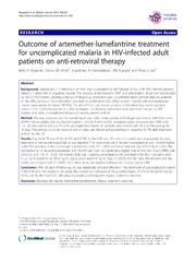 Vol 13: Outcome of artemether-lumefantrine treatment for uncomplicated malaria in HIV-infected adult patients on anti-retroviral therapy.