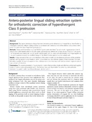 Vol 10: Antero-posterior lingual sliding retraction system for orthodontic correction of hyperdivergent Class II protrusion.