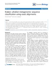 Vol 15: Kraken: ultrafast metagenomic sequence classification using exact alignments.