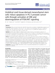Vol 5: Umbilical cord tissue-derived mesenchymal stem cells induce apoptosis in PC-3 prostate cancer cells through activation of JNK and downregulation of PI3K-AKT signaling.