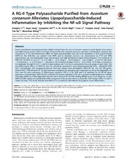 Vol 9: A RG-II Type Polysaccharide Purified from Aconitum coreanum Alleviates Lipopolysaccharide-Induced Inflammation by Inhibiting the NF-B Signal Pathway.