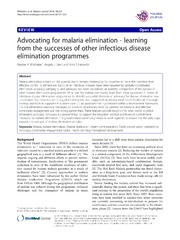 Vol 13: Advocating for malaria elimination - learning from the successes of other infectious disease elimination programmes.
