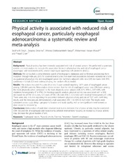 Vol 14: Physical activity is associated with reduced risk of esophageal cancer, particularly esophageal adenocarcinoma: a systematic review and meta-analysis.