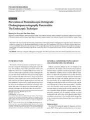 Vol 47: Prevention of Postendoscopic Retrograde Cholangiopancreatography Pancreatitis: The Endoscopic Technique.