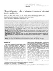 Vol 8: The anti-inflammatory effect of Indonesian Areca catechu leaf extract in vitro and in vivo.