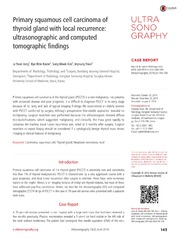 Vol 33: Primary squamous cell carcinoma of thyroid gland with local recurrence: ultrasonographic and computed tomographic findings.