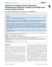 Vol 9: Associations between Anxiety, Depression, Antidepressant Medication, Obesity and Weight Gain among Canadian Women.
