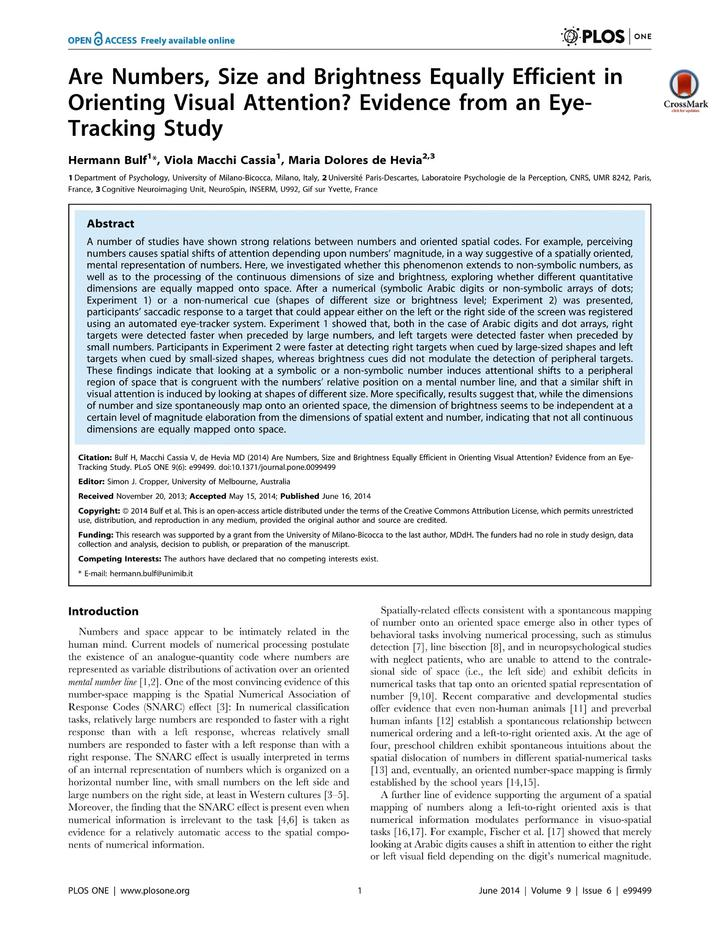 Vol 9: Are Numbers, Size and Brightness Equally Efficient in Orienting Visual Attention Evidence from an Eye-Tracking Study.