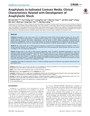 Vol 9: Anaphylaxis to Iodinated Contrast Media: Clinical Characteristics Related with Development of Anaphylactic Shock.