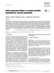 Vol 3: Glut4 expression defines an insulin-sensitive hypothalamic neuronal population.