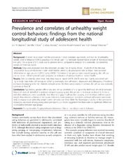 Vol 2: Prevalence and correlates of unhealthy weight control behaviors: findings from the national longitudinal study of adolescent health.
