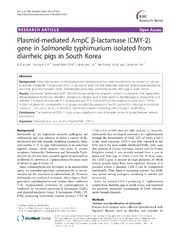 Vol 7: Plasmid-mediated AmpC -lactamase CMY-2 gene in Salmonella typhimurium isolated from diarrheic pigs in South Korea.